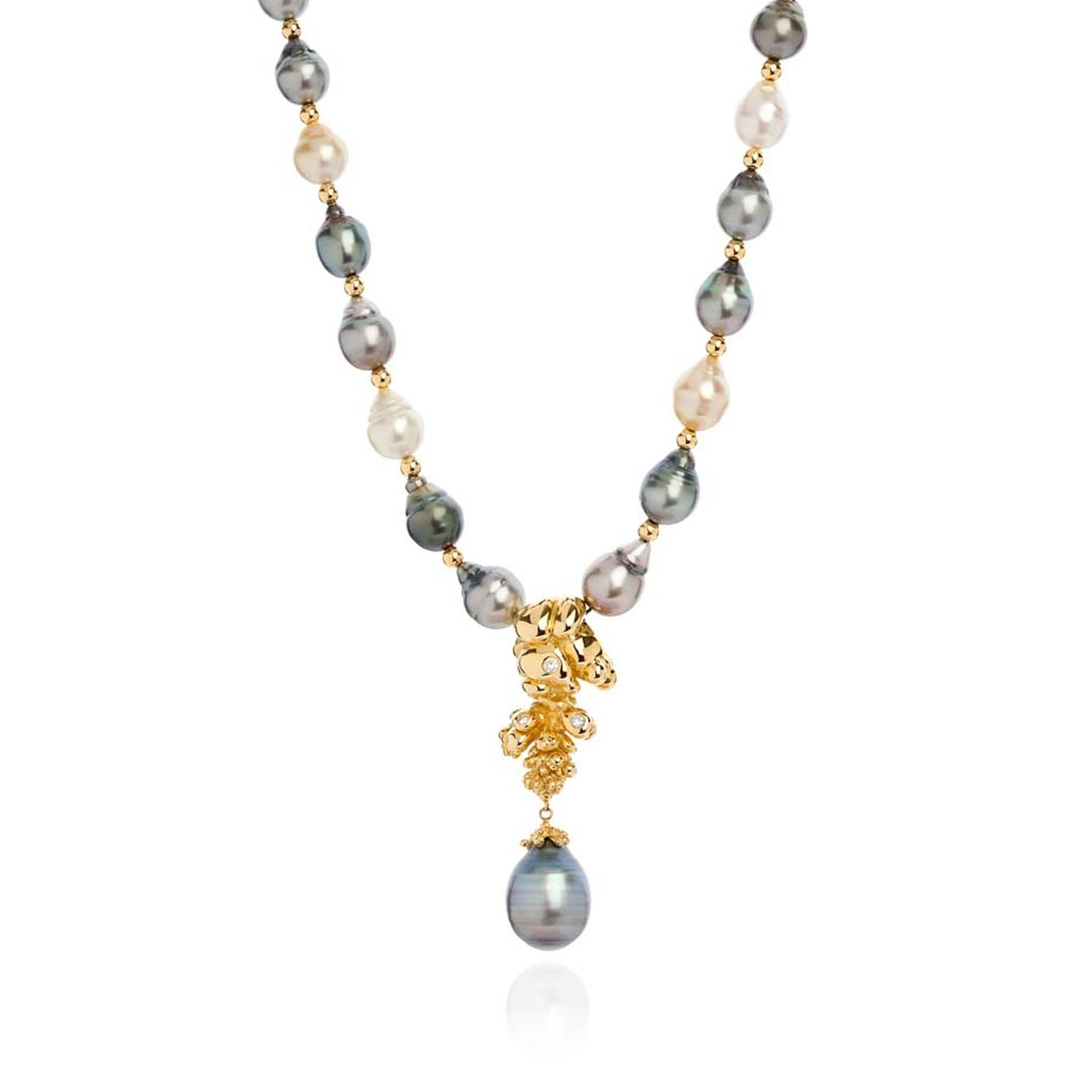 Ornella Iannuzzi Precious Trinity from the depth of Nature gold necklace featuring a Tahitian pearl set with three diamonds, and mounted with South Sea & Tahitian pearls.