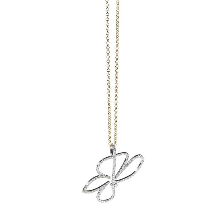 H.Stern's 2014 Oscar Niemeyer collection white gold flower necklace featuring a single diamond.