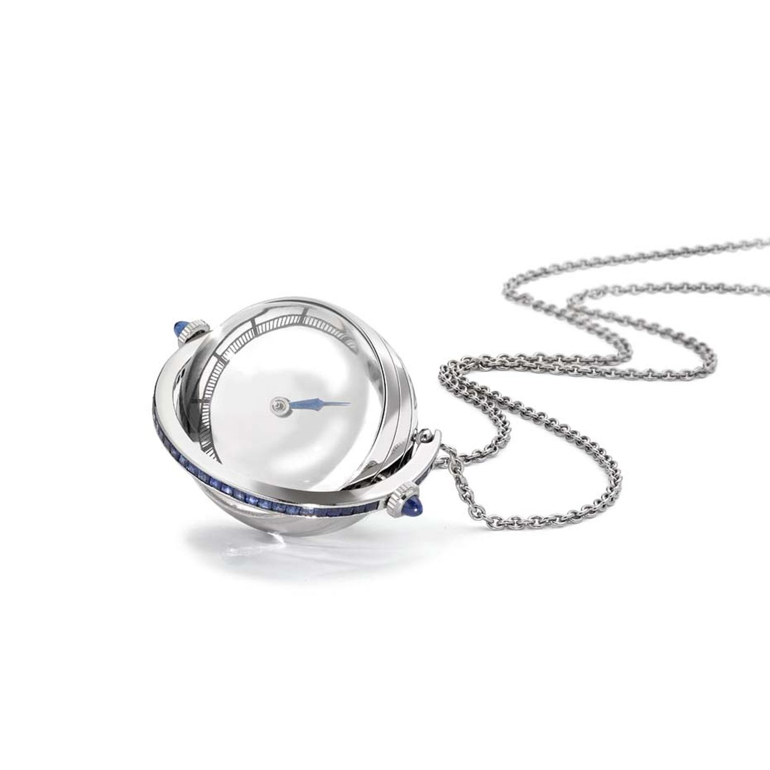 The platinum Struthers London Stella pendant watch featuring sapphires and diamonds won the prestigious Lonmin Design Innovation Award.