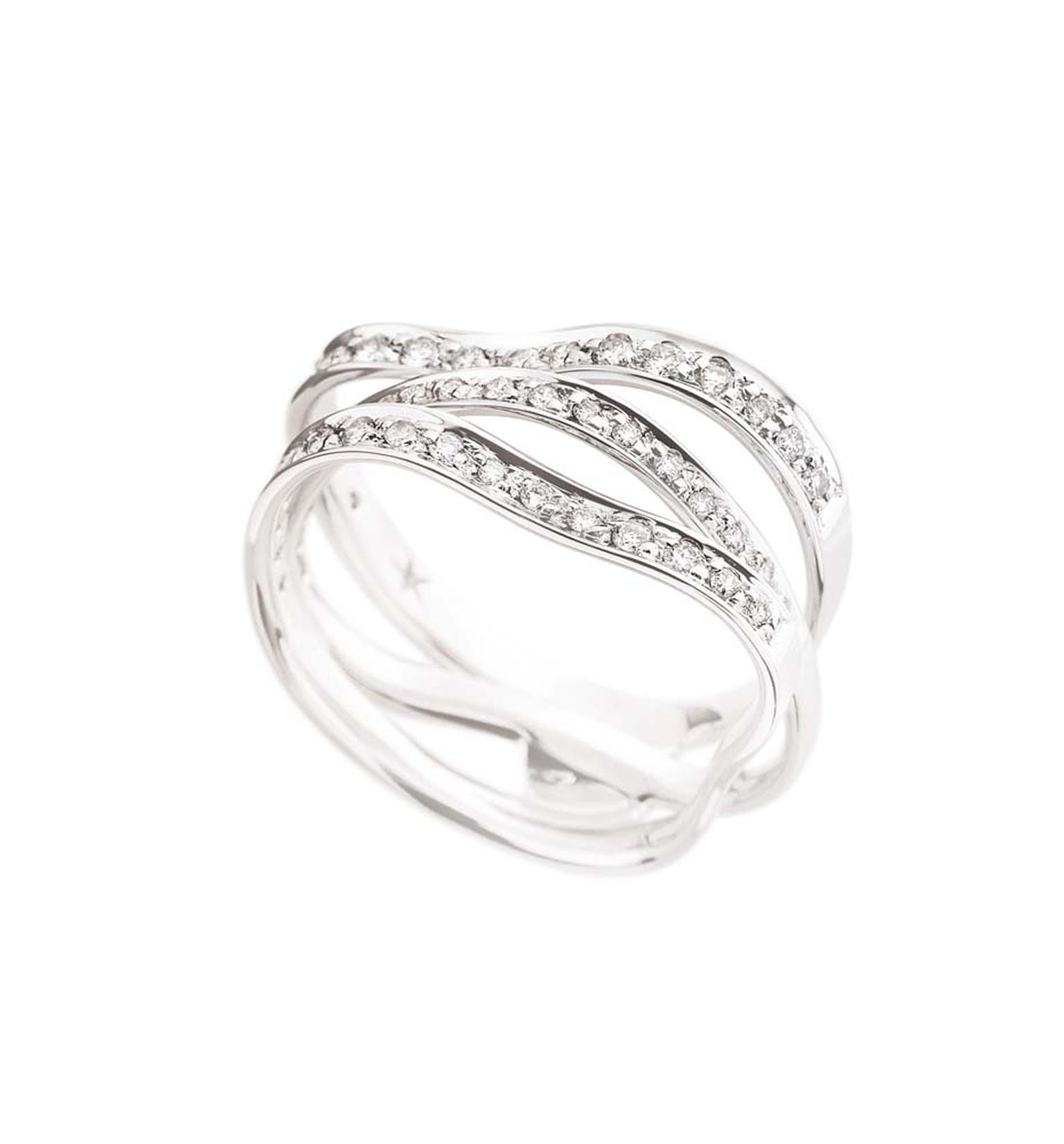 H.Stern's 2008 Oscar Niemeyer collection white gold ring featuring white gold and diamonds set together with three waves.