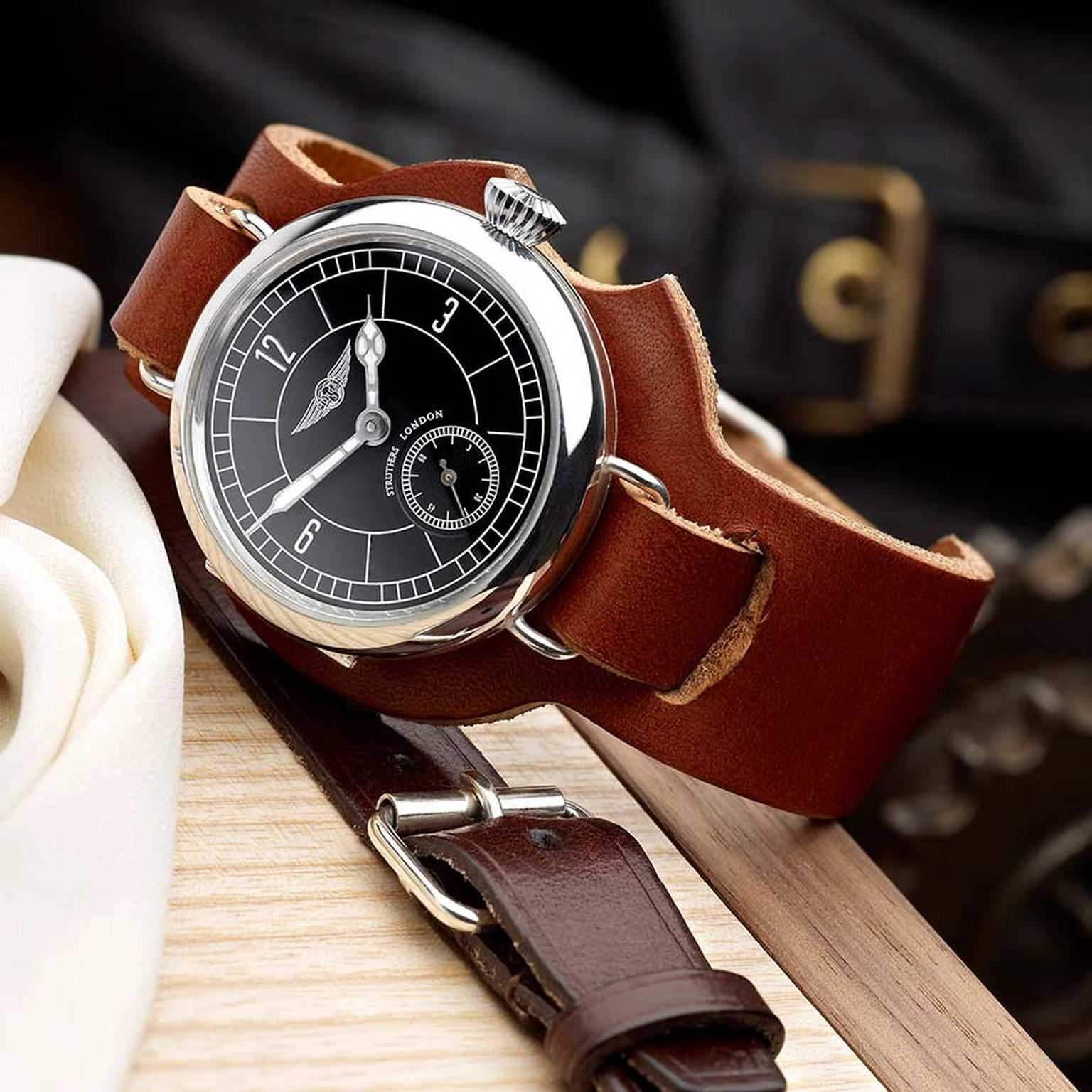 Struthers London for Morgan watches stay true to Morgan's heritage and details such as the cars' ash wood chassis, hand-beaten paneling and zero-carbon leather upholstery, all of which are reflected in the finished watch design.