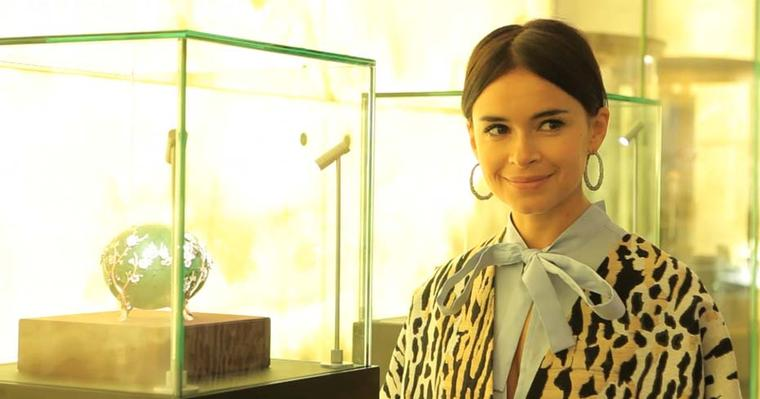 Miroslava Duma alongside the Fabergé Apple Blossom Easter egg.