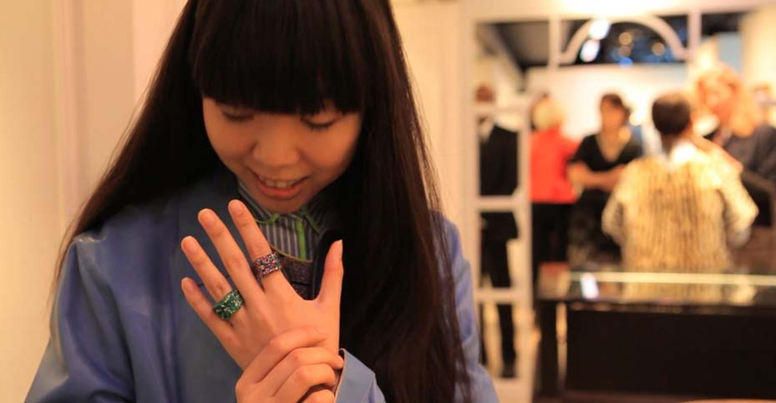 Renowned fashion blogger Susie Bubble shows off Fabergé's Emotion rings.