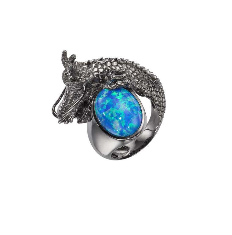 Crow's Nest Maleficent Collection Dragon ring featuring a central opal surrounded by rhodium with black diamonds