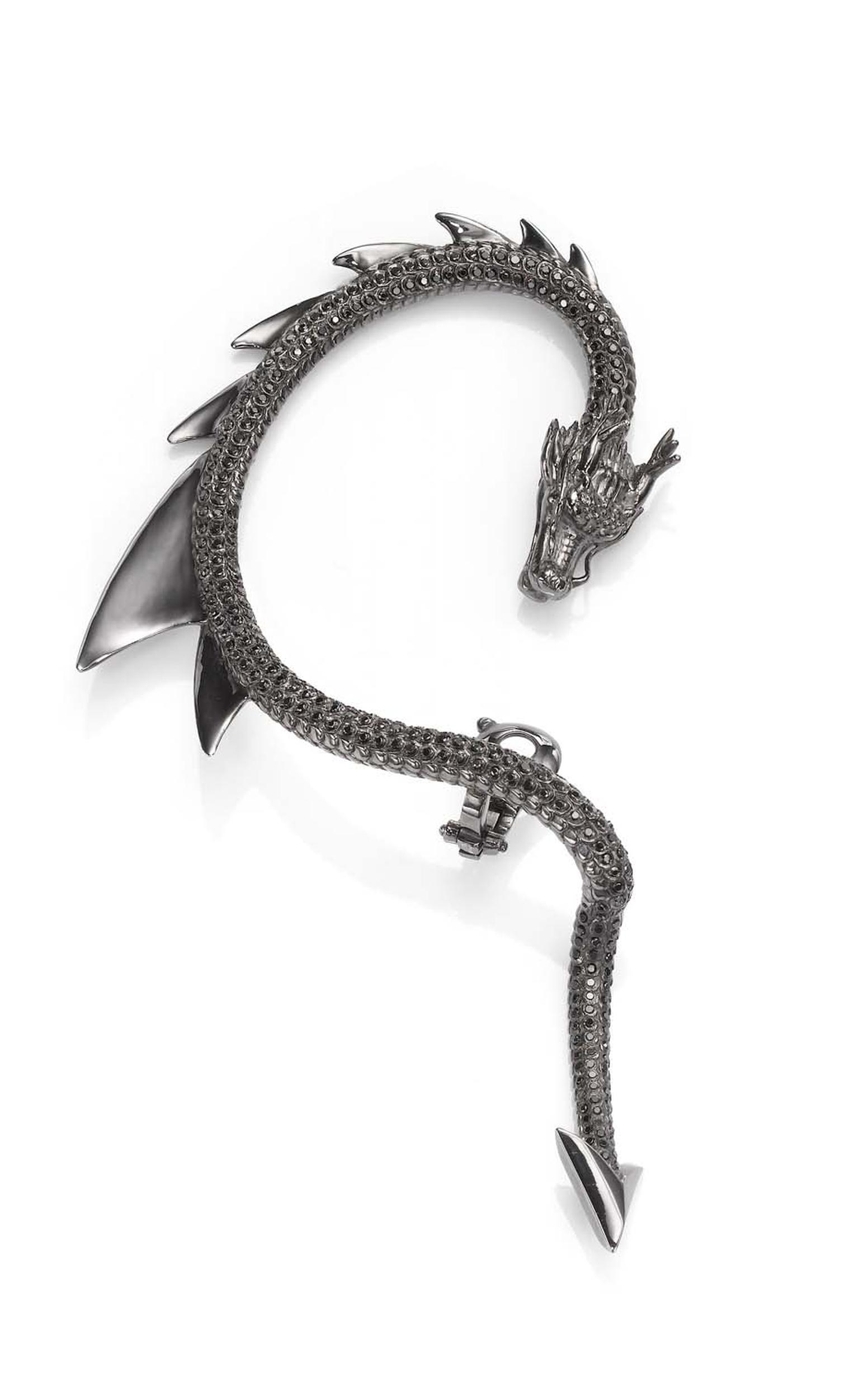 Crow's Nest Maleficent Collection Dragon ear cuff set in rhodium with black diamonds