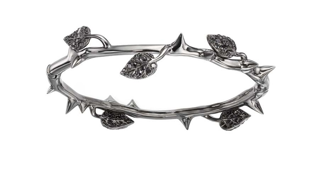 Crow's Nest Maleficent Collection Thorn bangle set with rhodium and black diamonds.