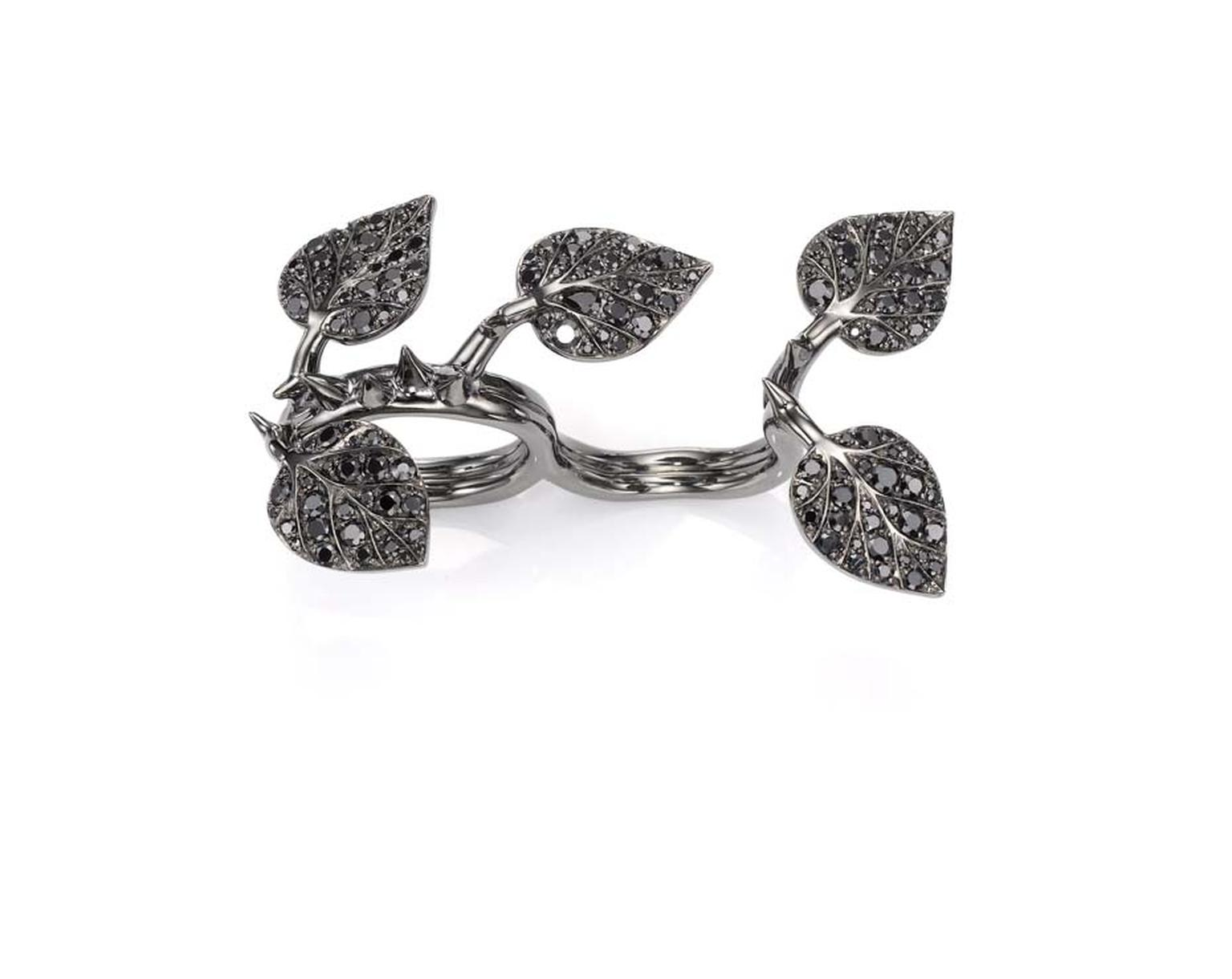 Crow's Nest Maleficent Collection Thorn ring set with rhodium and black diamonds.