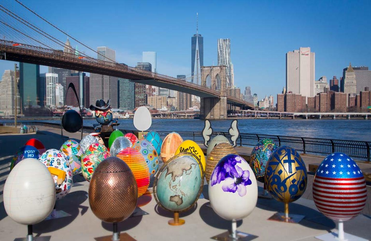 Just a handful of the Fabergé Big Egg Hunt eggs amidst the NYC skyline.