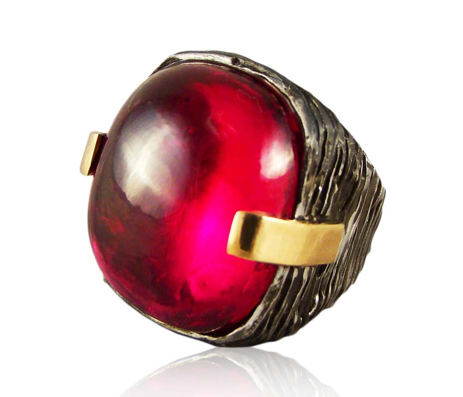 Corrado Giuspino cabochon red topaz cocktail ring.