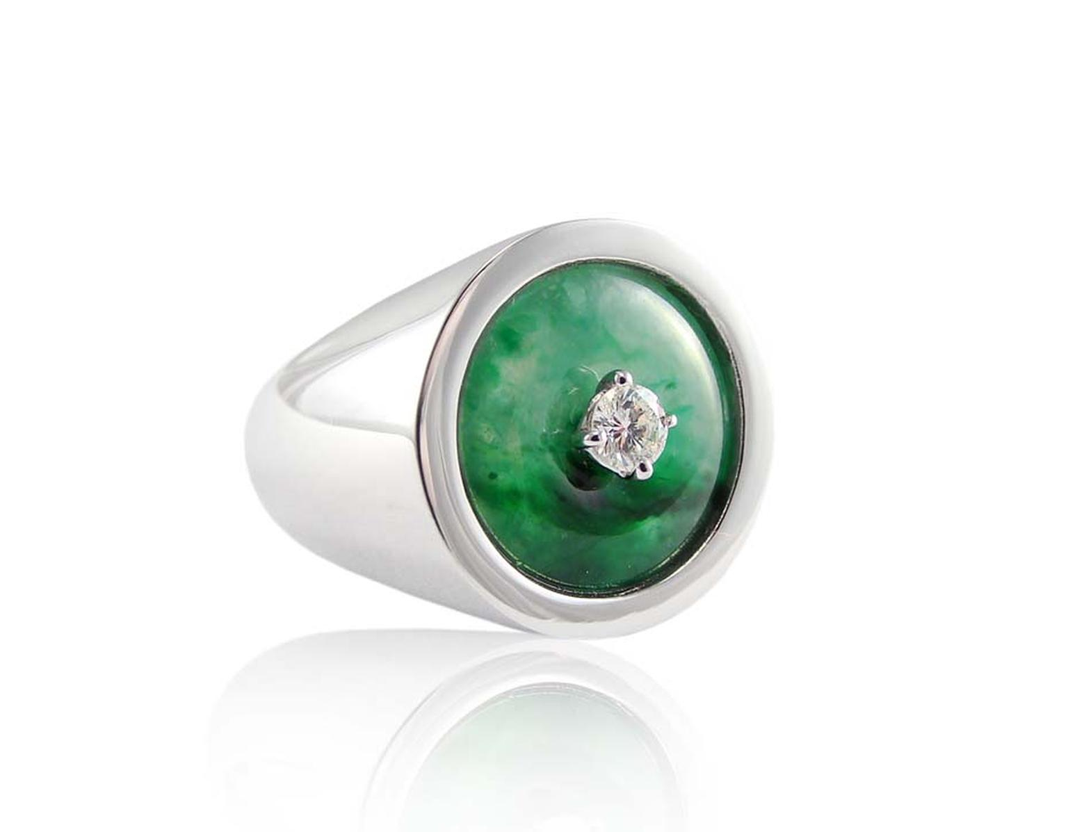 Corrado Giuspino jadeite and diamond ring.