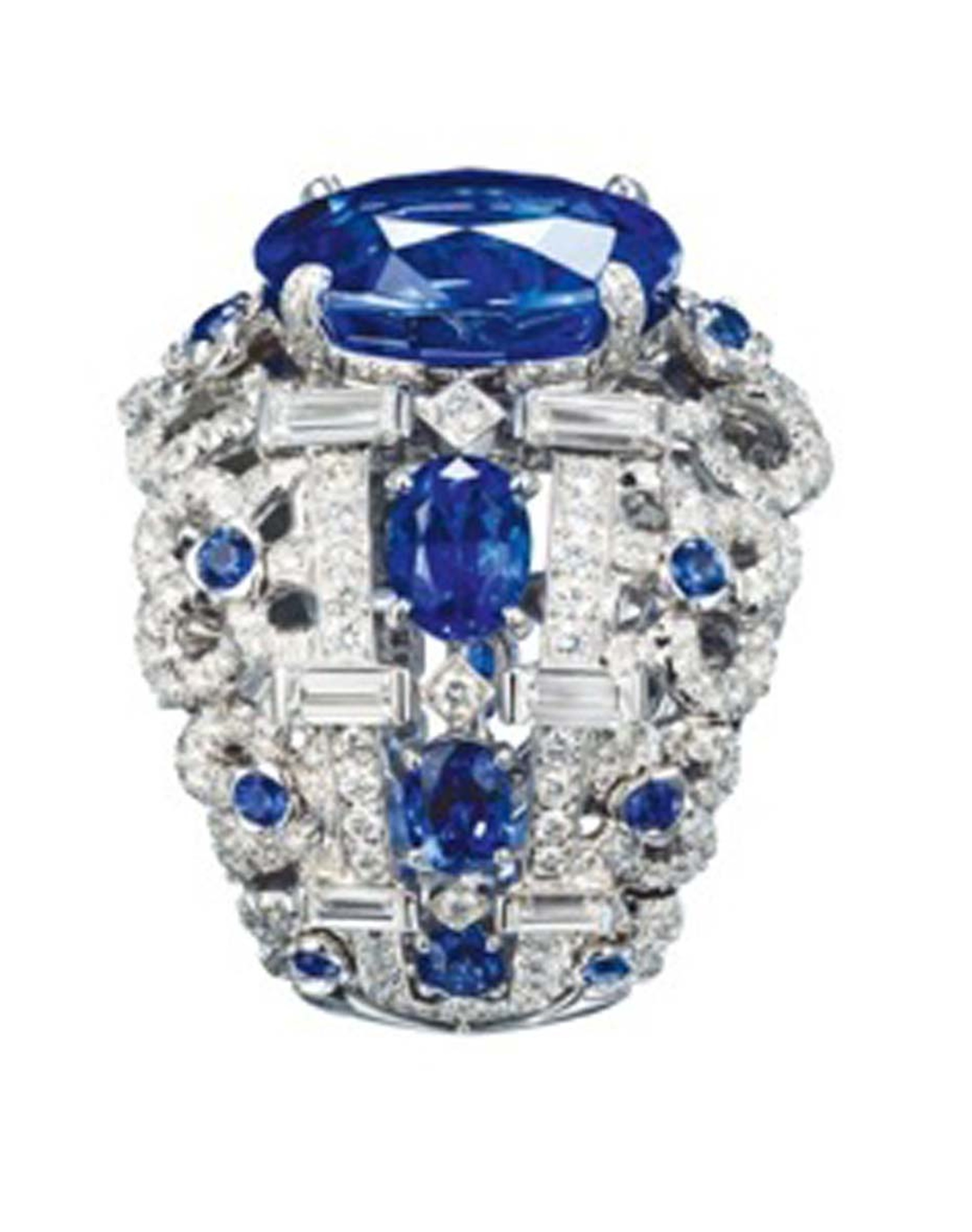 Chaumet Hortensia white gold ring with diamonds, sapphires and a centre oval-cut sapphire.