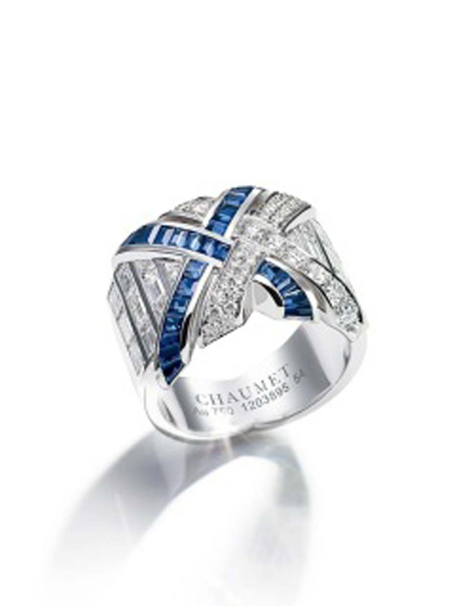 Chaumet Liens ring with diamonds and sapphires.