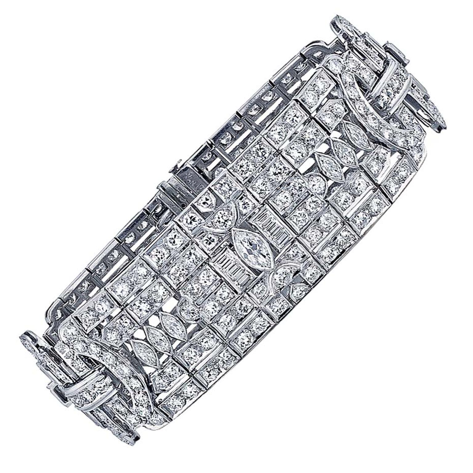 Van Cleef & Arpels 1920s Van Cleef & Arpels Diamond Platinum Bracelet ($239,000), available at 1stdibs.com. Image by: ScullyFoto.com