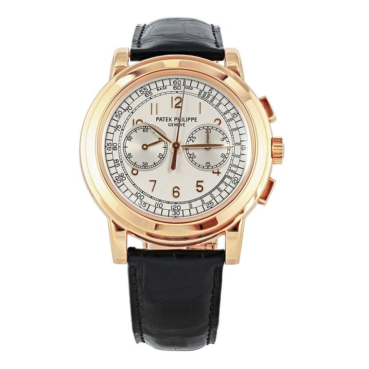 Patek Phillippe oversized rose gold chronograph wristwatch ($76,500), available at 1stdibs.com. Image by: ScullyFoto.com