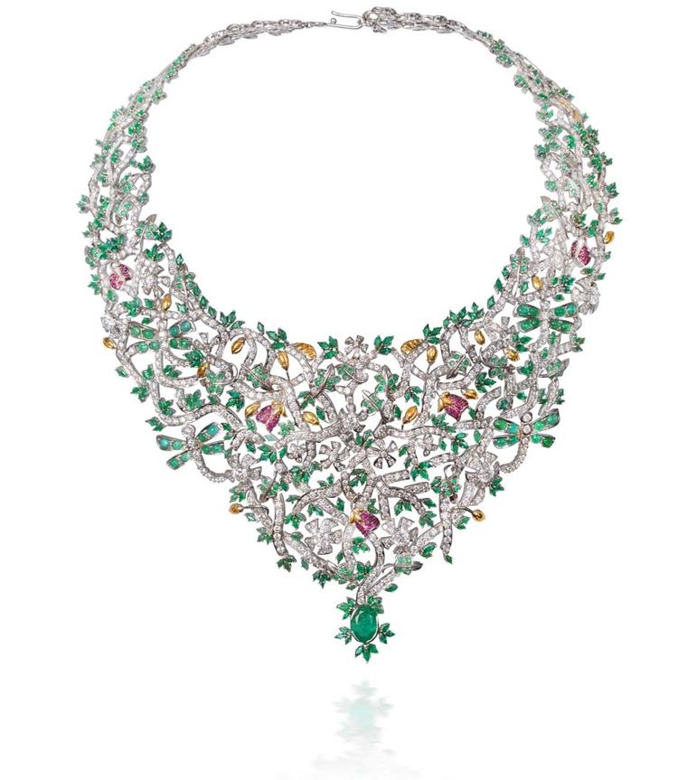 Lot 1, a necklace by Abaran Jewellers crafted with diamonds, Gemfields emeralds and rubies and set in white gold (estimate: INR 3,900,000 - 4,700,000; $65,000 - 79,000)