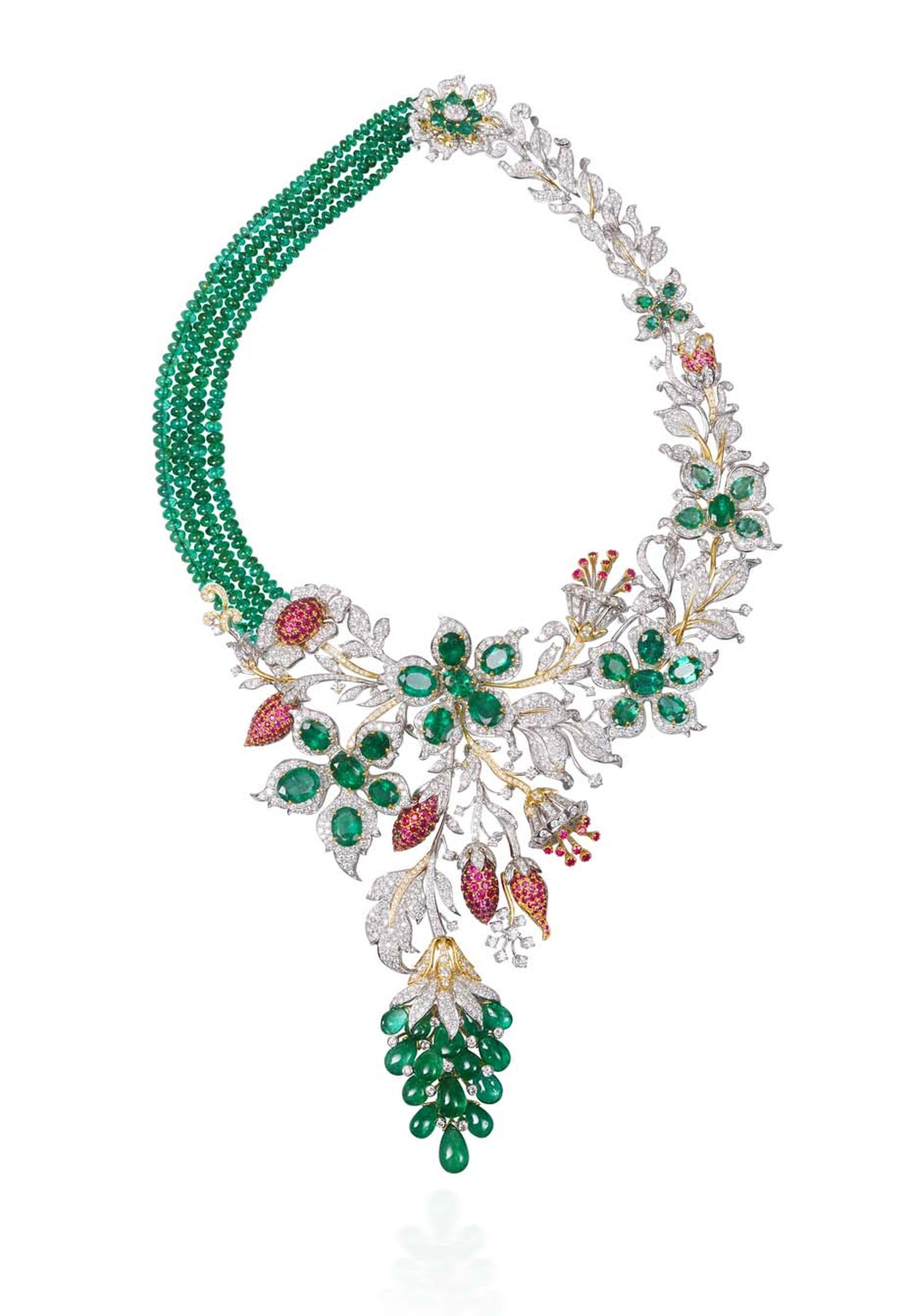 Lot 10, a necklace by Tibarumals Jewellers featuring four clustered rows of iridescent Gemfields emeralds nestled in a bed of diamonds (estimate: INR 4,600,000 - 5,550,000; $77,000 - 93,000)