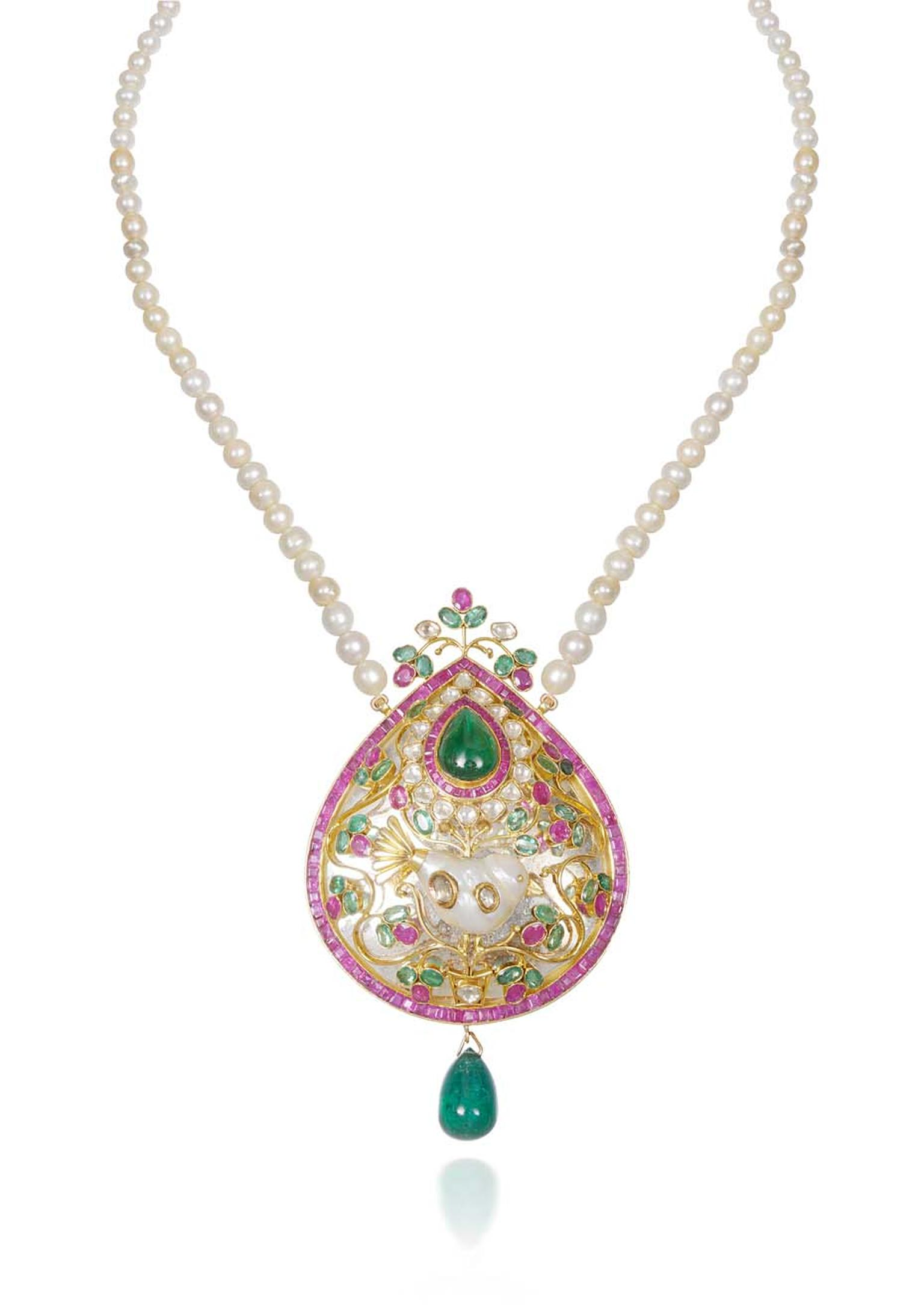 Lot 5, a traditional Kundan pendant harnessed by a string of pearls and set with diamonds and Gemfields emeralds and rubies, created by Lala Jugal Kishore Jewellers (estimate: INR 3,650,000 - 4,400,000; $61,000 - 73,500)