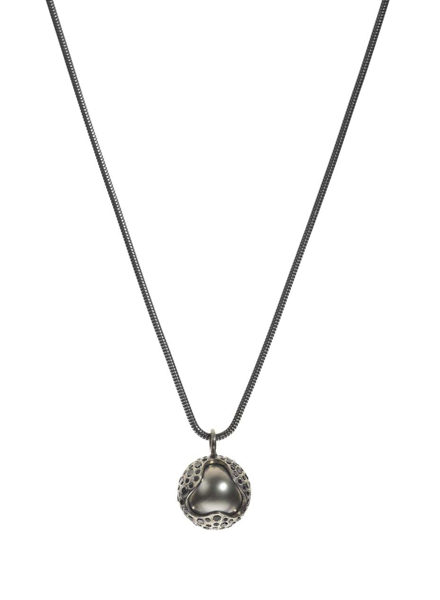 Todd Reed Tahitian pearl necklace in textured white gold, set with black diamonds