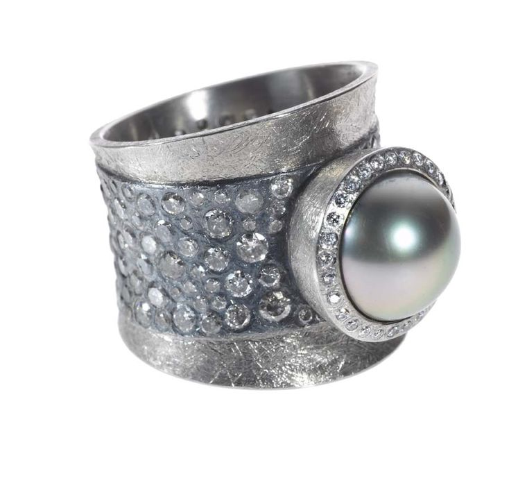 Todd Reed Tahitian pearl and diamond ring in textured white gold