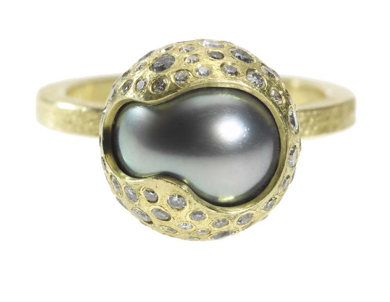 Todd Reed Tahitian pearl and diamond ring in textured gold