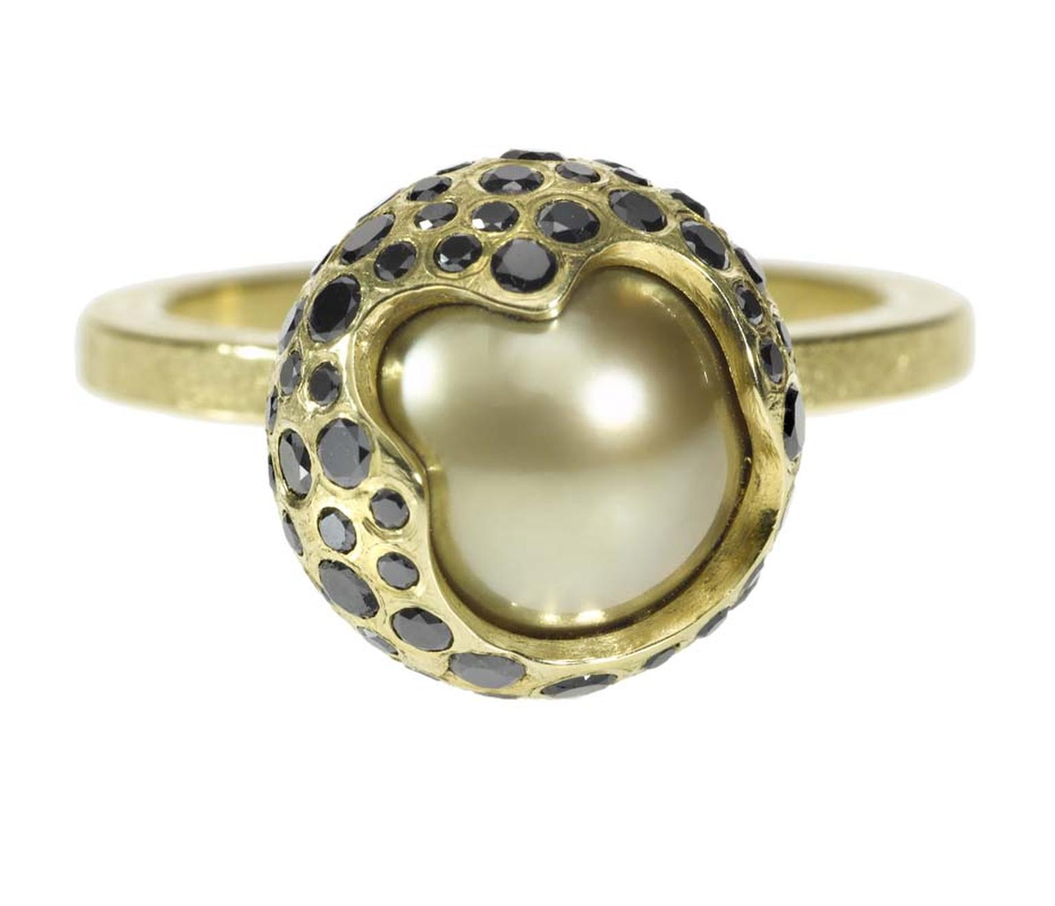 Todd Reed golden South Sea pearl ring in textured gold, set with black diamonds