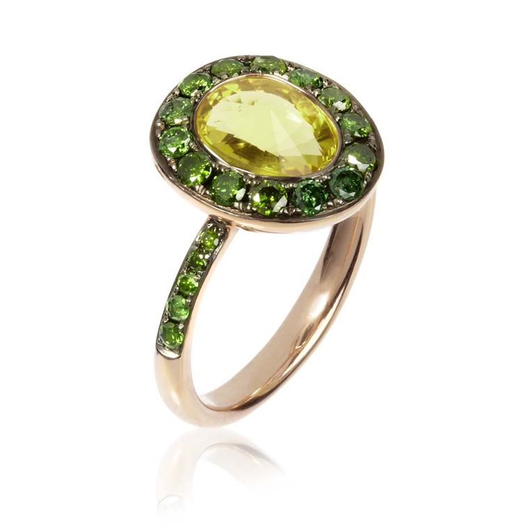 Annoushka Dusty Diamonds rose gold ring with green diamonds and an olive quartz.