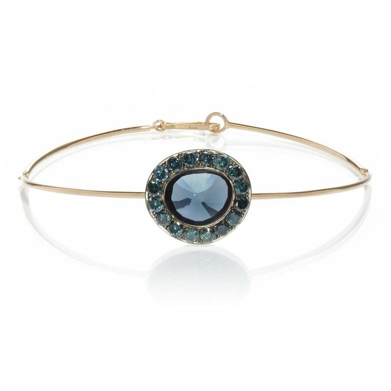 Annoushka Dusty Diamonds rose gold bangle with blue diamonds and a centre London blue topaz.