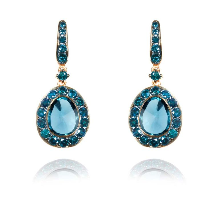 Dusty Diamonds rose gold earrings with blue diamonds and centre London blue topaz.