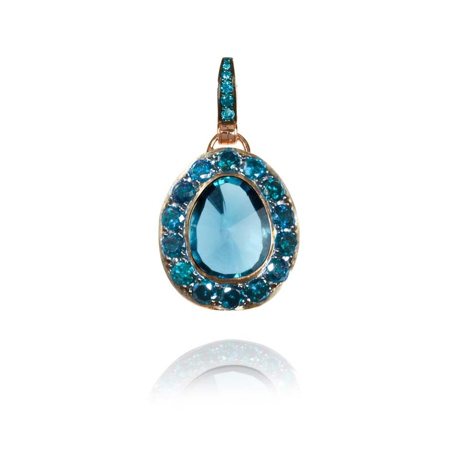 Dusty Diamonds rose gold pendant with blue diamonds and a centre London blue topaz.
