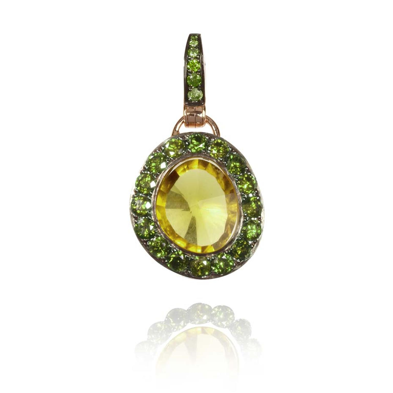 Annoushka Dusty Diamonds rose gold pendant with green diamonds and a centre olive quartz.