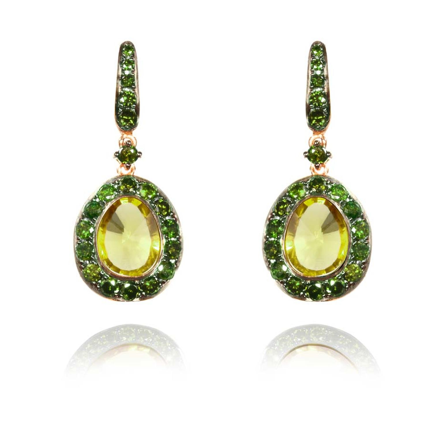 Annoushka Dusty Diamonds rose gold earrings with green diamonds and centre olive quartz.