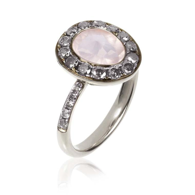 Annoushka Dusty Diamonds white gold ring with silver diamonds and a centre rose quartz.