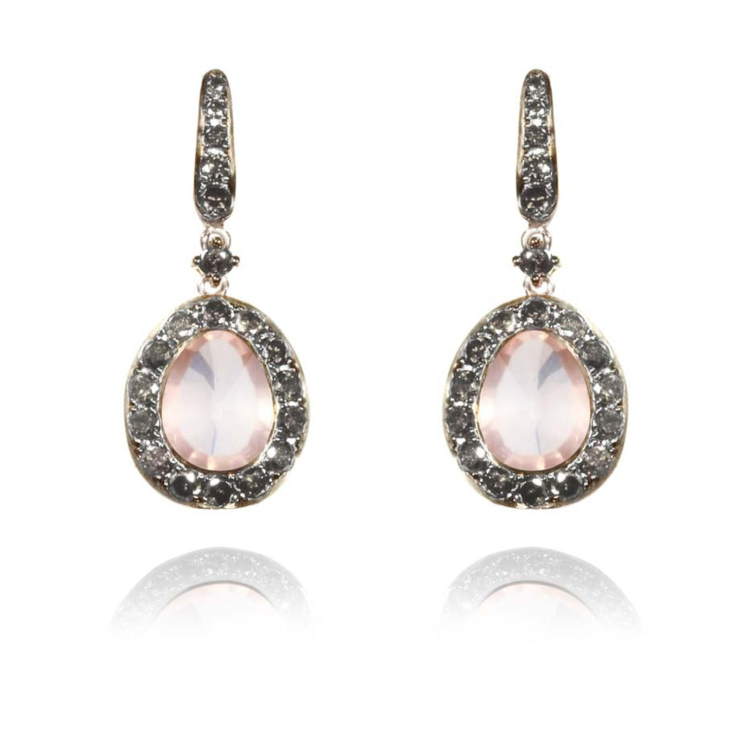 Annouska Dusty Diamonds white gold earrings with silver diamonds and centre rose quartz.