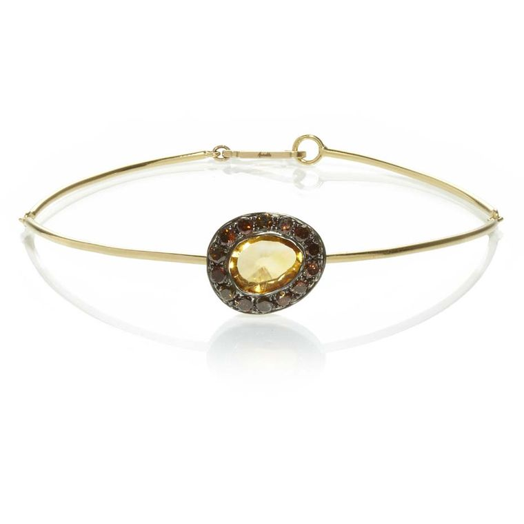 Annoushka Dusty Diamonds yellow gold bangle with cognac diamonds and a centre citrine.