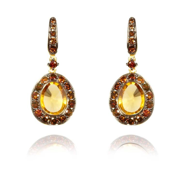 Annoushka Dusty Diamonds yellow gold earrings with cognac diamonds and centre citrines.