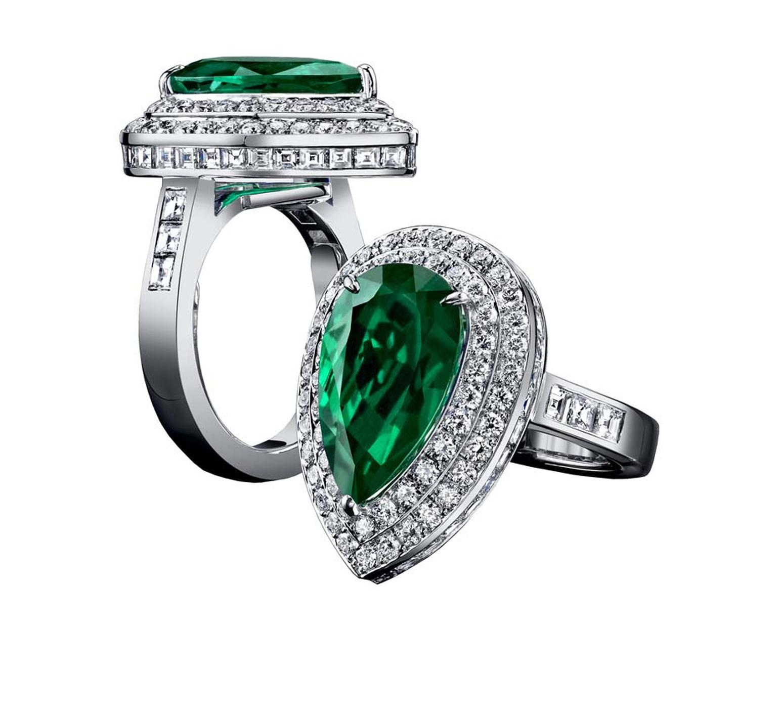 Robert Procop Exceptional Jewels collection 6.35ct pear shape Emerald ring surrounded by two tiers of diamonds