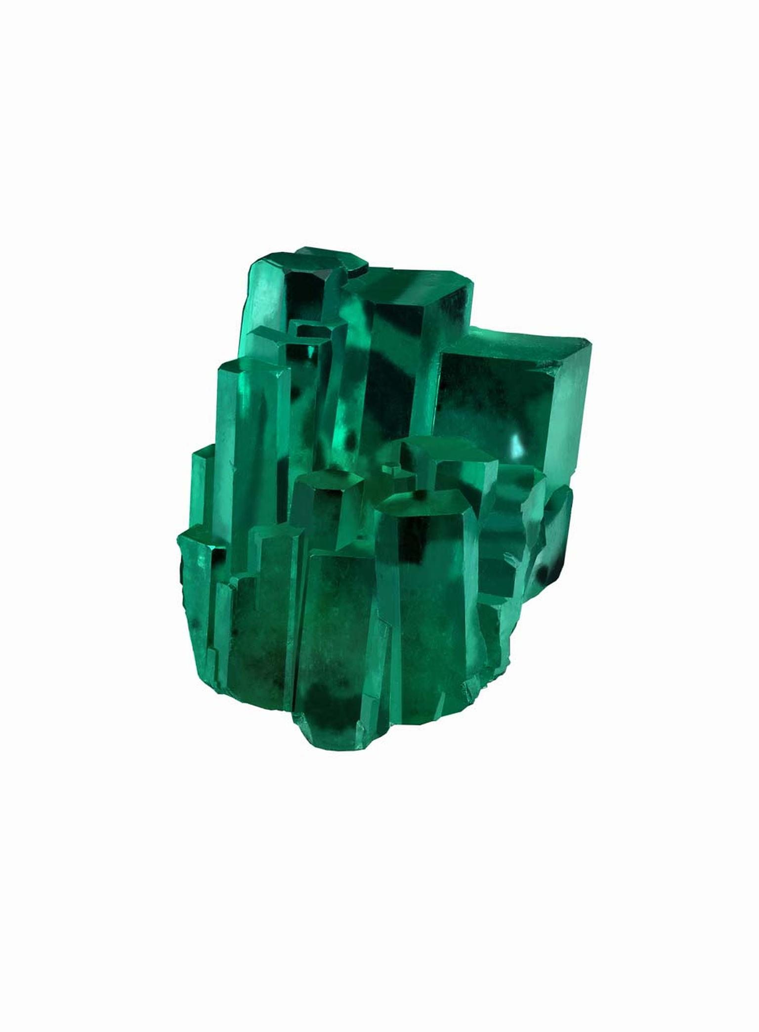 The 39.01ct Emerald City is a rare and unique natural formation from the mines in Colombia with vivid and intense green hexagonal prisms