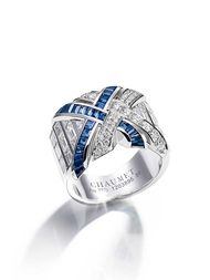 Chaumet white gold Liens ring with 45 brilliant-cut diamonds, 20 baguette-cut diamonds and 29 baguette-cut sapphires