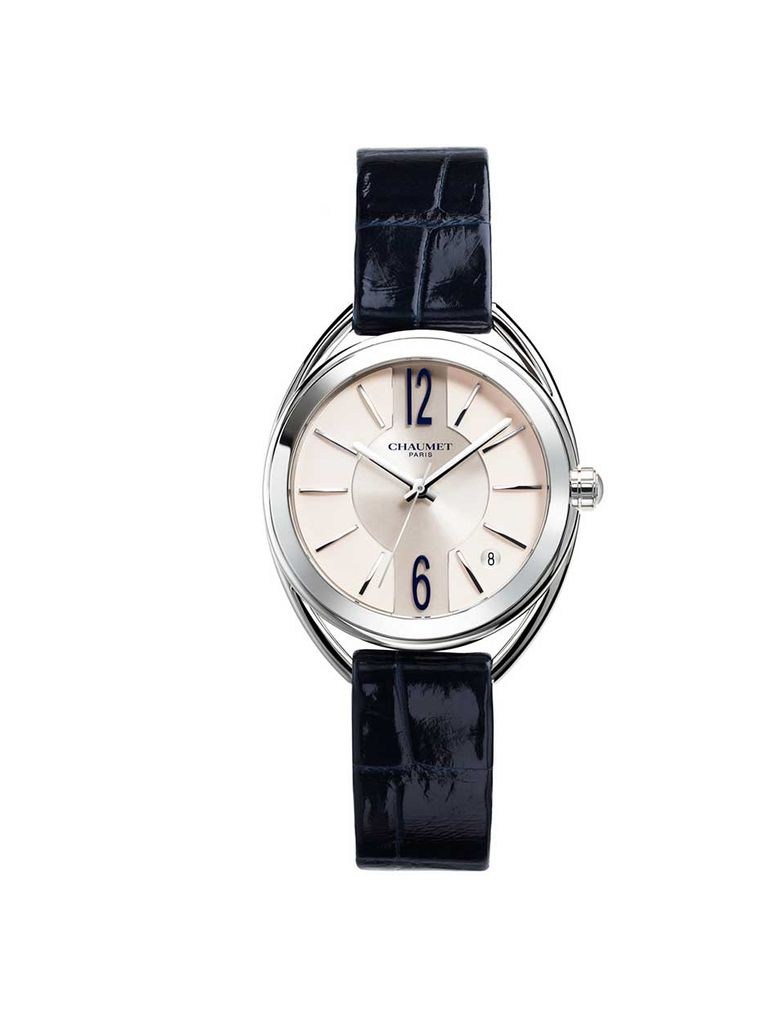 Chaumet Liens automatic watch with a steel case, white silvered sunray brushed dial and night blue alligator leather strap