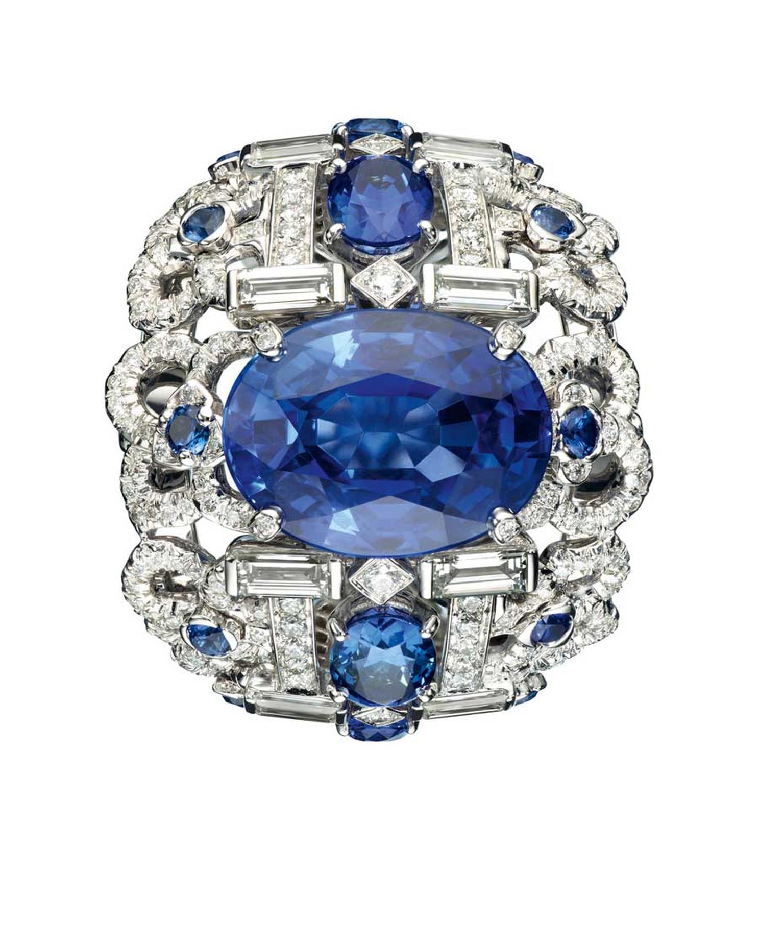 Chaumet white gold Hortensia ring with diamonds, sapphires and set with a centre oval-cut sapphire (9.85ct).
