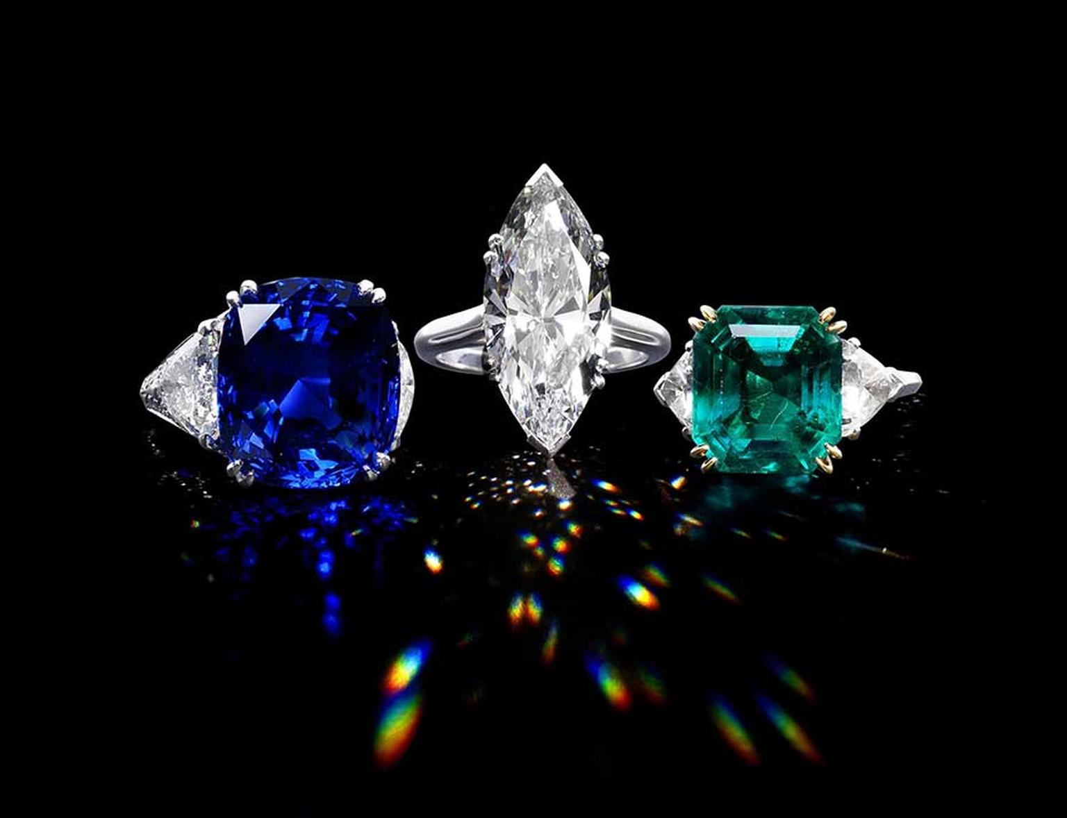 A trio of rings, including a marquise-cut diamond ring by Piaget, centre, with a combined high estimate of £750,000 are the stars of Bonhams' Fine Jewellery Sale in London on 30 April 2014