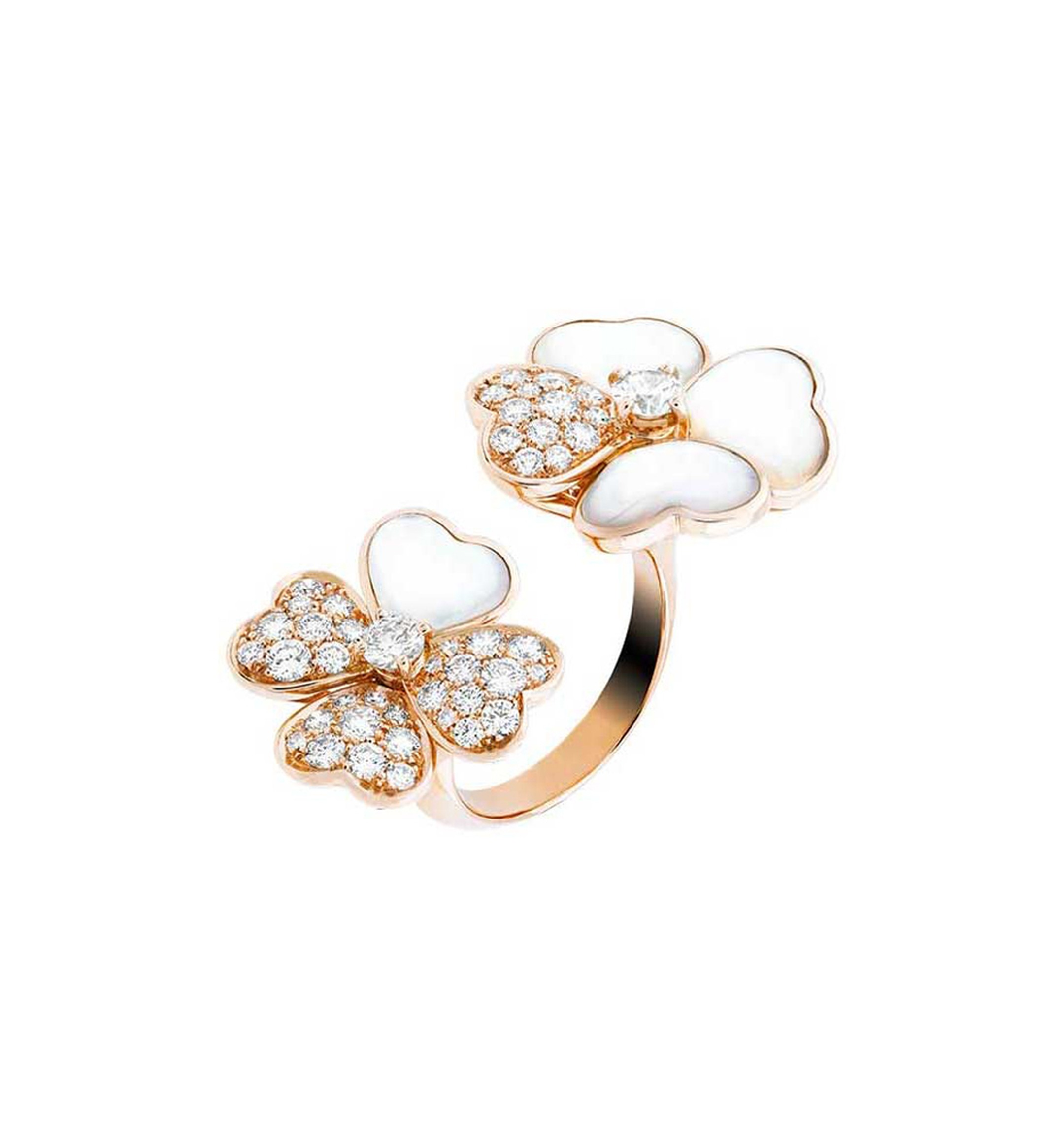 Van Cleef & Arpels Cosmos Between the Finger ring in rose gold with brilliant-cut diamond buds surrounded by white mother-of-pearl and diamond petals