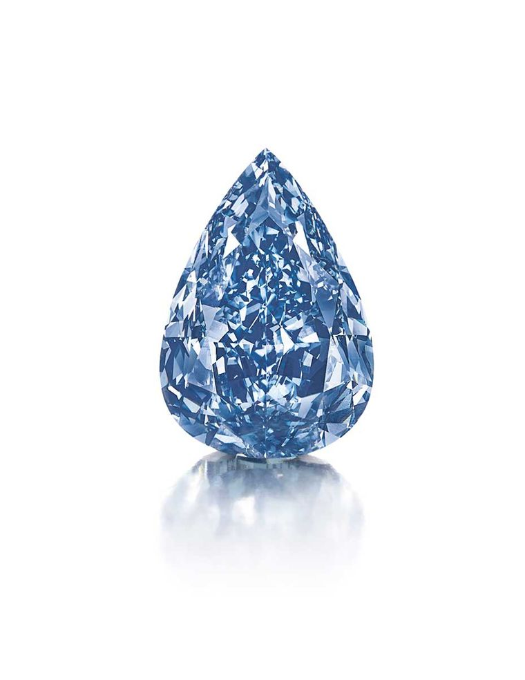 'The Blue' diamond, a 13.22ct Fancy Vivid blue pear-shaped diamond, is the largest flawless Fancy Vivid blue diamond in the world. It has been renamed 'The Winston Blue' by its new owner, Harry Winston