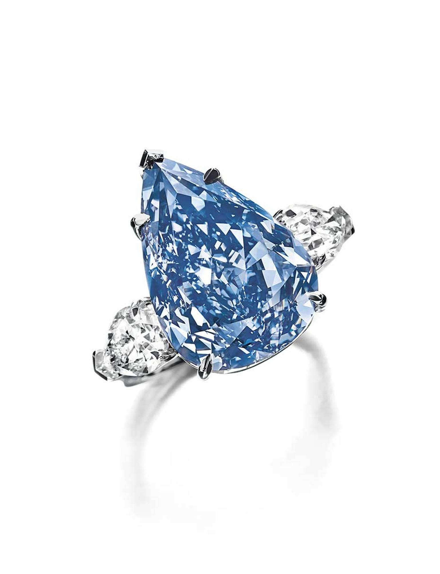 'The Winston Blue' diamond set a new world auction record for the price per carat for a blue diamond at Christie's Geneva