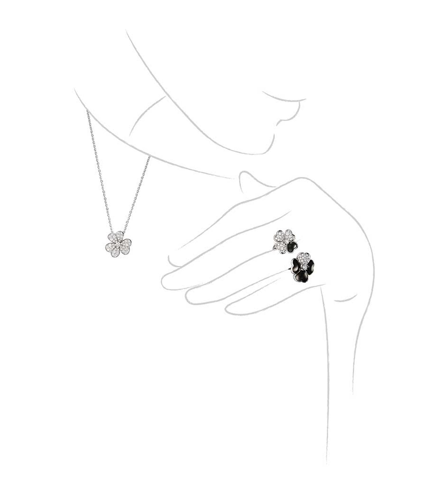Van Cleef & Arpels Cosmos Between the Finger onyx and diamond ring and Cosmos diamond necklace