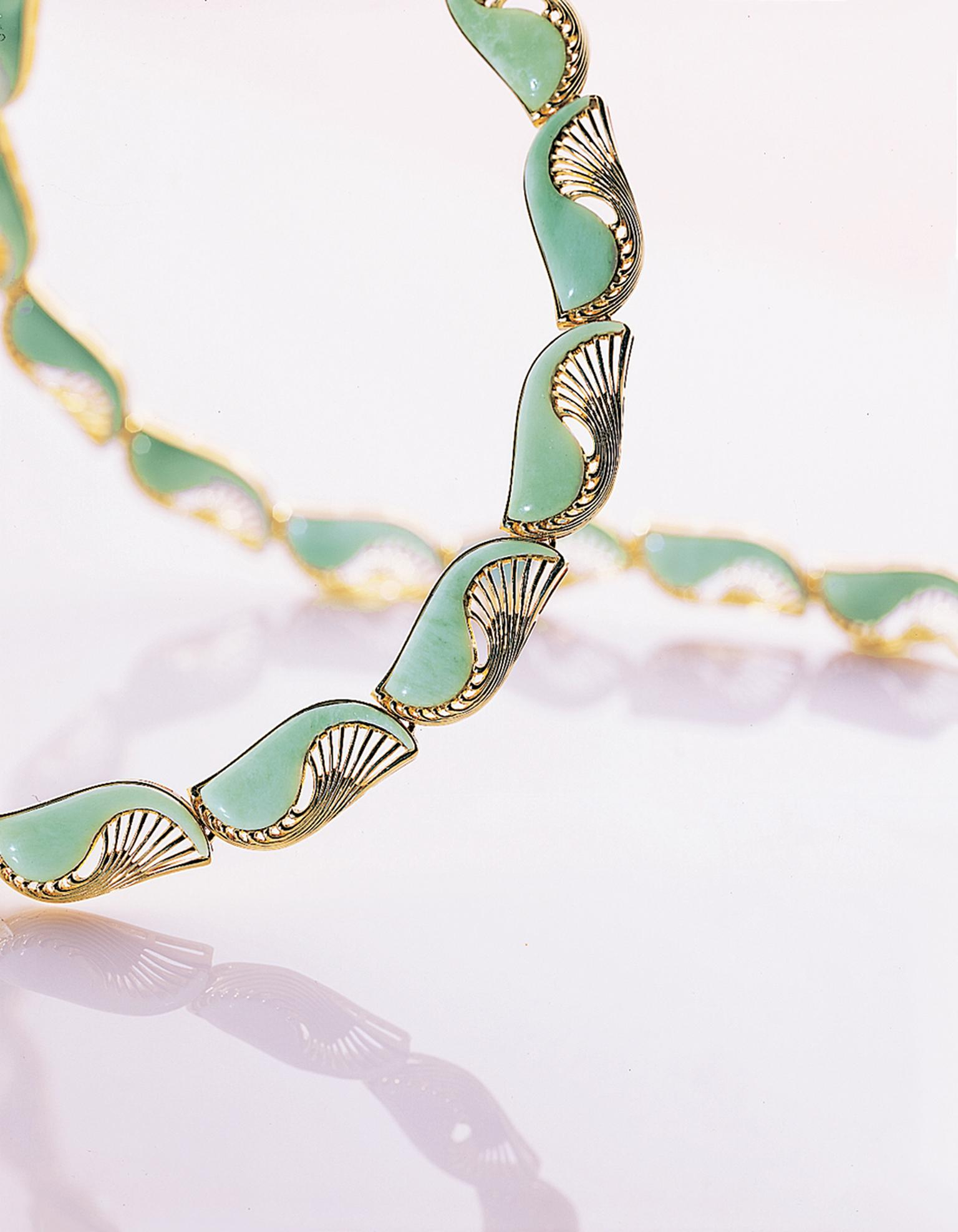 Myungji Ye Water Bird Series gold necklace with serpentine