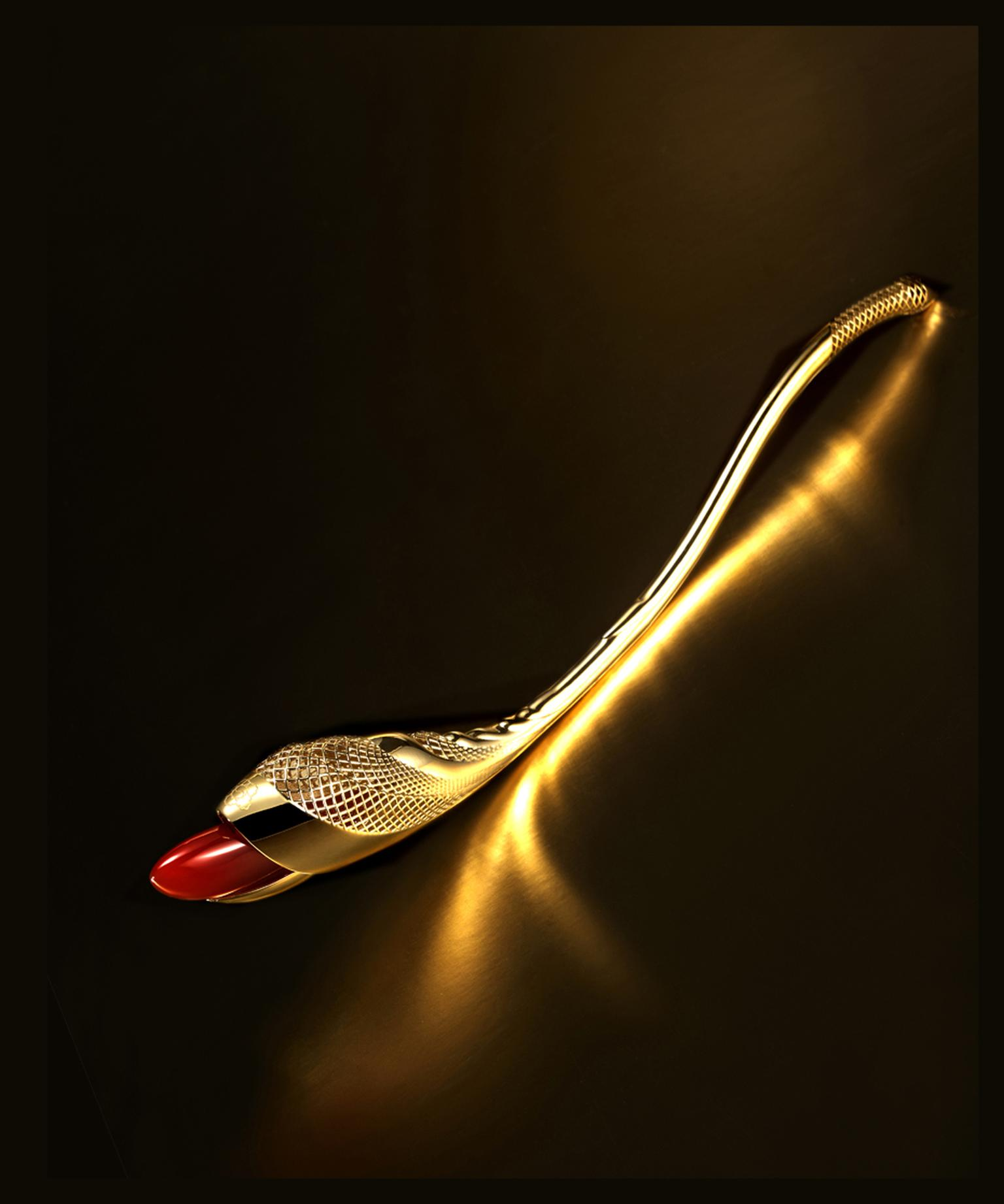 Myungji Ye The Flight gold hairpin with carnelian
