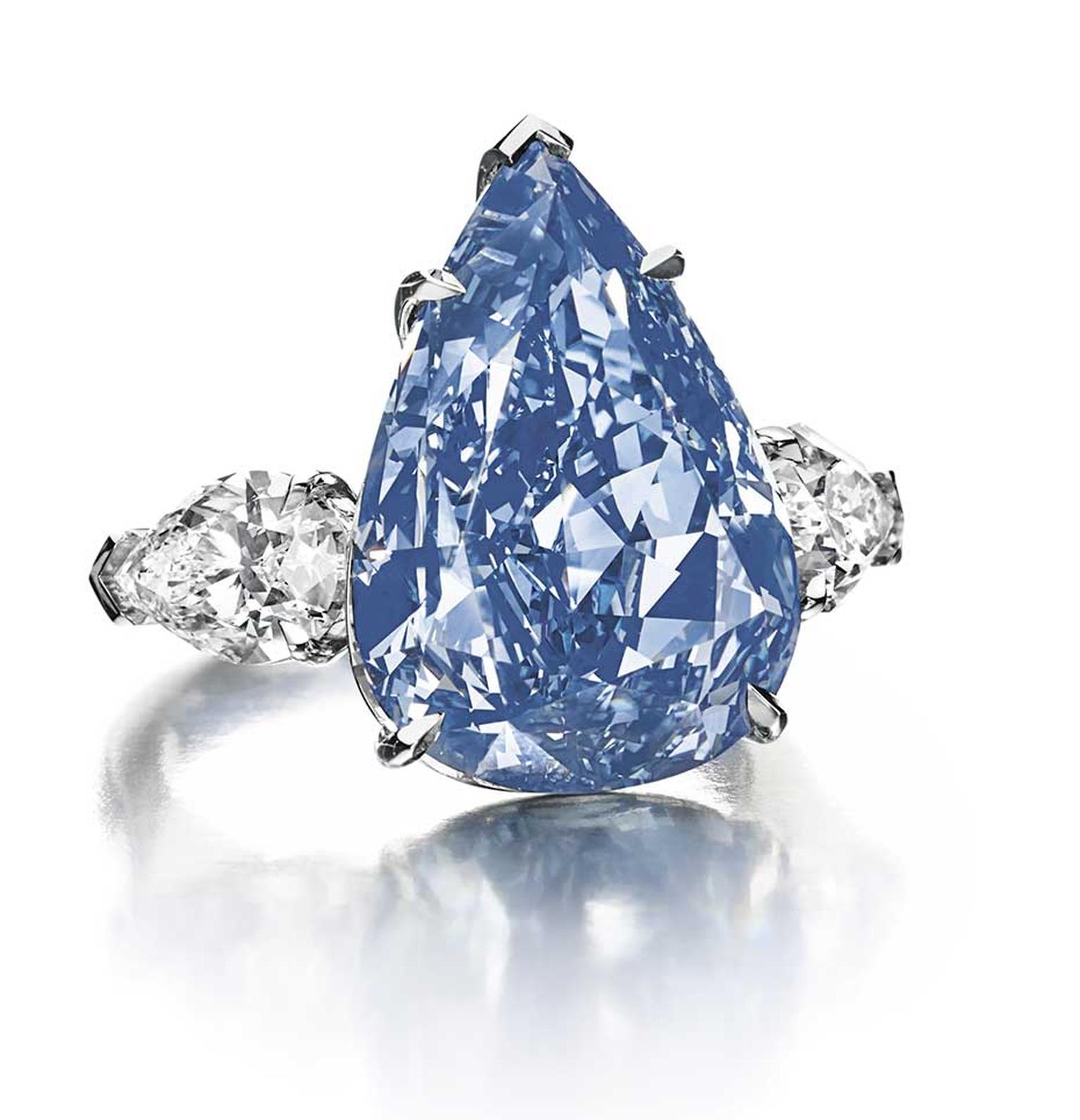 The star at Christie's sale of Magnificent Jewels in Geneva on 14 May 2014 was the 13.22ct 'The Blue' diamond. It sold for close to $23.8 million, which is nearly $1,800 per carat - a new world record price per carat for a blue diamond.
