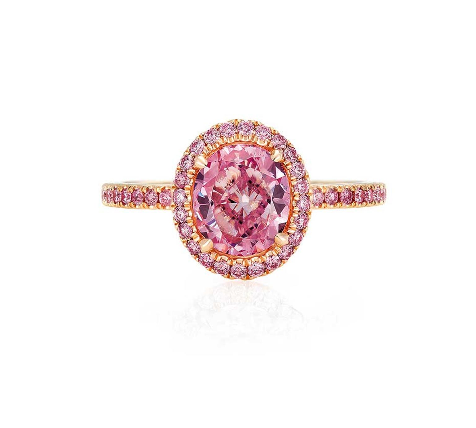 De Beers rose gold Aura ring with pink diamonds (£POA).