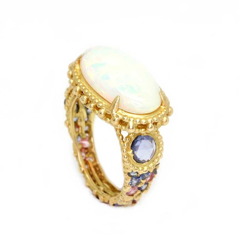 Polly Wales Ethiopian opal Rapunzel ring with sapphires in shades of lavender and pink (£POA).